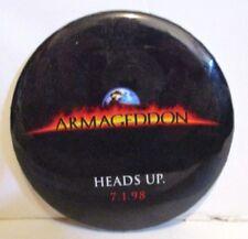 WALT DISNEY PICTURES ARMAGEDDON MOVIE PROMOTIONAL METAL PIN BACK BUTTON 1998