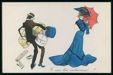 art Xavier Sager ? risque Lady shopping & male surcharge original 1910s postcard
