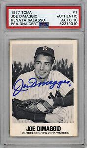 1977 TCMA Autographed PSA/DNA 10 Joe DiMaggio #1 Renata Galasso Baseball Card
