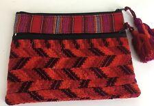 Stela9 make up bag Clutch Purse Red Textile Striped Tassels Zip New 2551-E