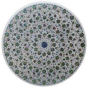 "48"" Marble Center Table Top Handmade Semi Precious Stones Inlay Work"
