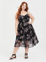 TORRID Women's ( 2X  18-20 )  Black Floral Mesh Velvet Midi Dress Stretch Waist