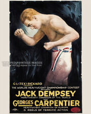 Vintage 1921 Boxing Poster GEORGES CARPENTER vs JACK DEMPSEY Heavyweight Title