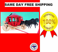 SPECTACULAR HANDMADE ROMANTIC KIRIGAMI HORSE & CARRIAGE 3D POP UP CARD INTRICATE