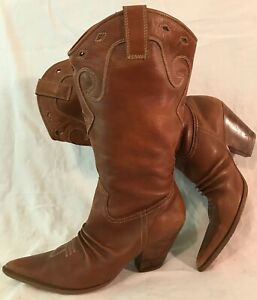 Theme Brown Mid Calf Leather Lovely Boots Size 8 (325v)