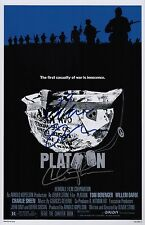Charlie Sheen & Oliver Stone Signed Platoon 11x17 Movie Poster COA