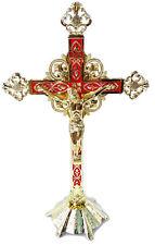 "Stand Altar Cross Crucifix Jesus Church Red&Enameled inri Jerusalem Holyland 12"""