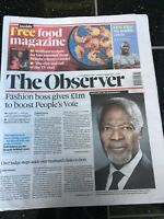 Kofi Annan Obituary Front Page United Nations Newspapers Observer 19/08/2018