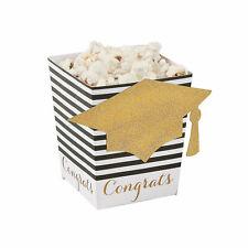 Black & Gold Grad Popcorn Boxes  - Party Supplies - 24 Pieces