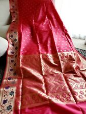 Indian Bollywood Designer Saree Pink Color Pure Silk Party Wear Sari Blouse SS
