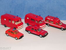 N°4 WIKING LOT DE 5 VEHICULES DE POMPIERS INTERVENTIONS ACCIDENTS HO