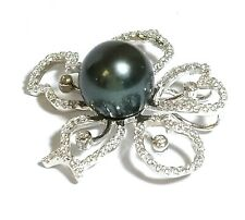 Lovely Natural Peacock Black Green Tahitian Sea Round 11.1mm Pearl Pendant