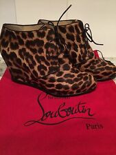 Christian Louboutin Lady Schuss Boots Pony Hair Wedge Leopard 37.5/6.5-7 $1195