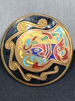 "Vintage Beautiful Artist Cloisonné  Colorful Brooch Pin Pendant Necklace 1 5/8"""