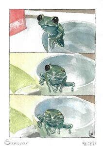 original painting A5 11ShAl art by samovar watercolor modern animal toad