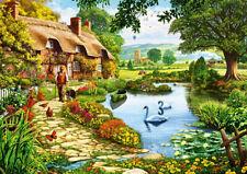 Puzzle Cottage am See, 1000 Teile, Pflanzen, Blumen, Natur, Landschaft, Bluebird