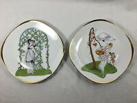 Lot of 2 Rare Vintage Bavaria Ardalt Germany Plates 9014 Art Deco Gold Trim