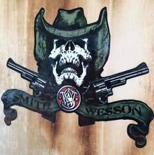 NEW SKULL Smith & Wesson protected Oldschool Avviso Adesivo Sticker AUTO USA