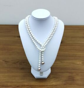 """Natural White & Purple Rose Pink 7 - 11.5mm Edison Round Pearl 42"""" Necklace"""