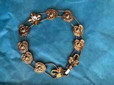 "Vintage Costume Bracelet with Sliding Gold Tone Heart Charms, 7 1/2"" Long"