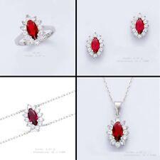 Parure 4PC T52 Rhodié Marquise Oeil 15mm de Rubis Diamant Cz Argent Dolly-Bijoux