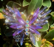 Purple Crystal Rhinestone Pin Brooch Butterfly Insect Bug Large Wedding Bouquet