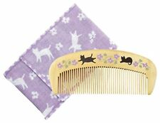 KUROCHIKU Tsubaki Do moisture boxwood with comb case flower cat Japan new .