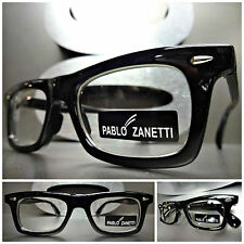 Mens Women CLASSIC VINTAGE 60's RETRO Clear Lens EYE GLASSES Black Fashion Frame