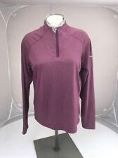 Columbia Sportswear Titanium 1/2 Zip Maroon Grey Checker Long Sleeve Shirt Large