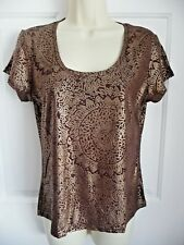 Talbots Collection NWT M Top Shirt Brown Rayon Spandex Sparkly Scoop Neck Unique