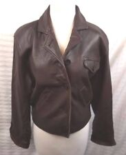 Studio Sienna Leather Jacket Nylon Lined Classy Casual 5 Disc Button Size Small