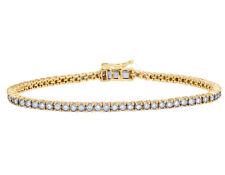 Mujer Tenis Uno Fila Auténtico Brazalete Diamante 10k Amarillo Oro 1 4/5 Ct 3MM