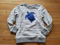 Boys MINI BODEN Turtle Applique Grey Striped Sweatshirt Size 6-7 Years