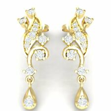 0.33ct Genuine Round Cut Diamond Women's Stylish Drop Earrings 10K Yellow Gold