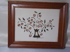 """1993 Folk Art """"Tree of Life"""" Theorem Painting on Velvet-  J.Clark"""