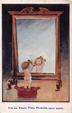 I'M ON PEACE TIME PURSUITS ONCE MORE~SMALL NAKED GIRL~LARGE MIRROR COMIC POSTCRD