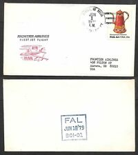 1979 First Jet Flight Air Mail Cover - Frontier Airlines - Denver, Colorado