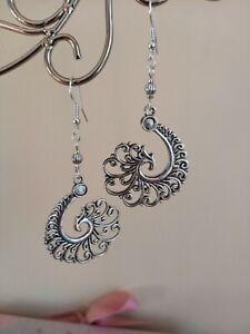 Large silver wave pendant charm long drop dangly earrings ~ bohemian hippy