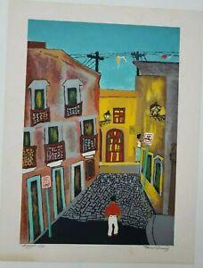 Manuel Hernandez Acevedo, Signed Old San Juan, Puerto Rico Naïf Art Vintage