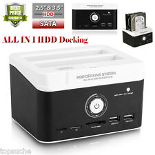 "DUAL Festplatten 2.5/3.5"" Docking Station USB3.0 SATA HDD Dock 2 Festplatten NEU"