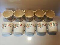 Corning Ware Corelle Abundance Coffee Cups Mugs - Set of 10- Fruit Pattern - USA