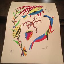 "1976 Artist Signed Miklos Emhecht Large Painting ""Fanta-Sea Land"" Acrylic"
