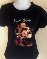 VINTAGE KURT COBAIN UNPLUGGED LADIES FITTED LARGE T-SHIRT PUNK ROCK NIRVANA