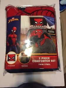 Spider-Man Stripes Reversible Twin/Full Comforter Set Microfiber Polyester NEW
