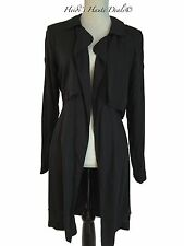 NEW Anthropologie Cloth & Stone Black Draped Chambray Trench Coat Duster S Small