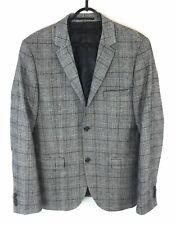 Topman Mens Grey Wool Blend Classic Tweed Style Blazer Jacket Sz UK38 Fast Ship
