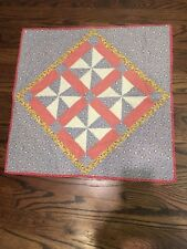 """Handmade Pieced Fabric Quilted Wall Hanging 20"""" x 20"""" Country Folk Art Red Blue"""