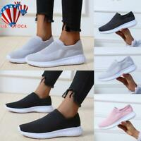 US Women Ladies Slip On Trainers Walk Sports Comfy Sock Sneakers Shoes Size 6-9