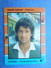 SCANLENS STIMOROL 1988/89 CRICKET CARD - Wasim  Akram # 111 (Pak)