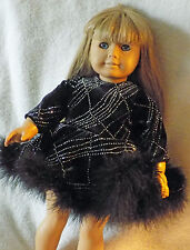 """American Girl size Fancy Velvet with Faux Feather Trim Bottom. Fit 18"""" doll"""